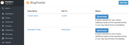BlogFeeder Embedded in the Shopify Admin