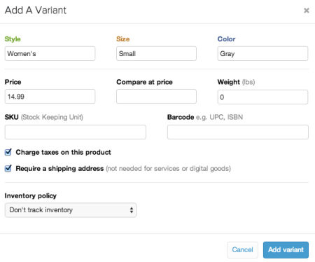 Shopify Add new variant