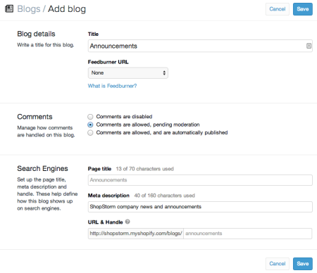Create a new Shopify Blog