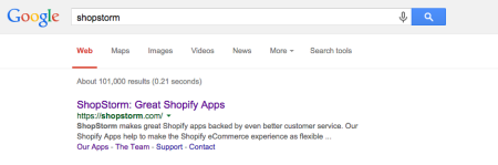 Image of Google search for the word shopstorm