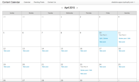 content calendar interface for Shopify blog post