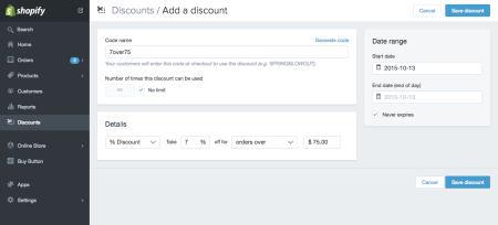 discount over order value screenshot