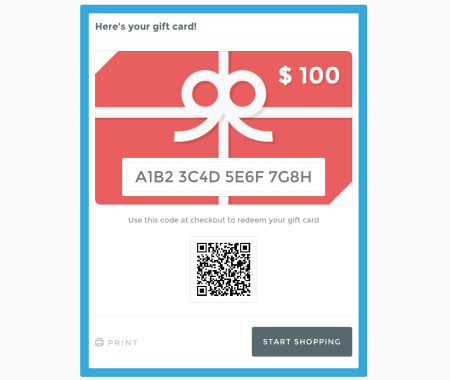 image of gift cards preview
