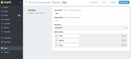 options in customize products