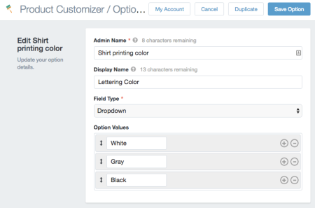 Product Customizer Improved Dropdown options