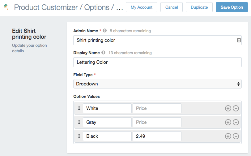 Product Customizer dropdown price per option
