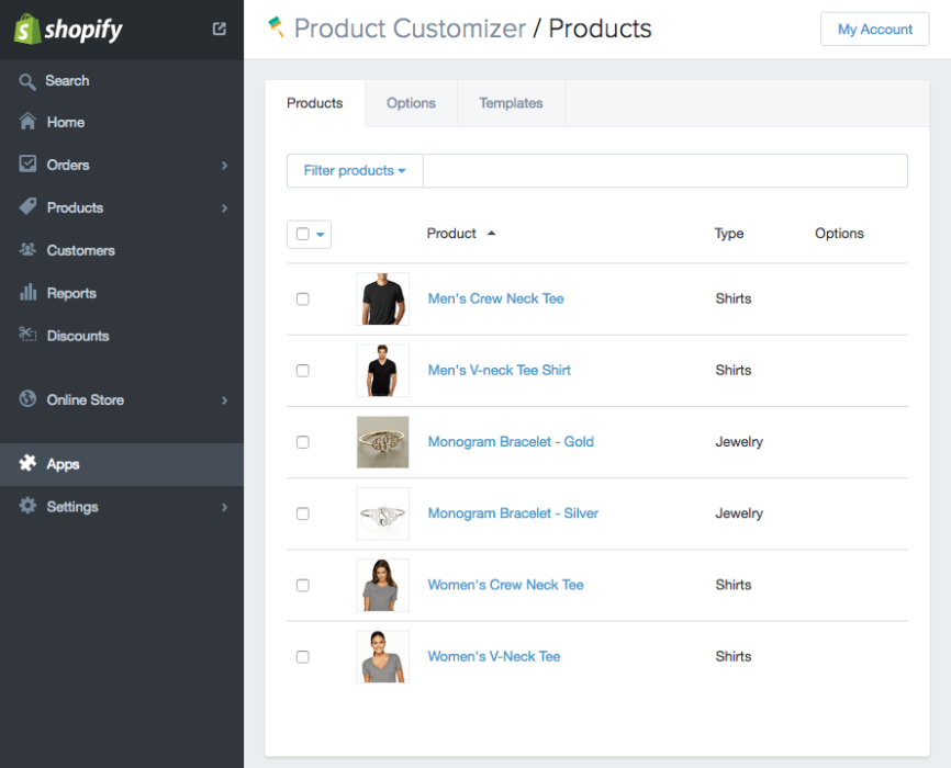 Product Customizer Products list