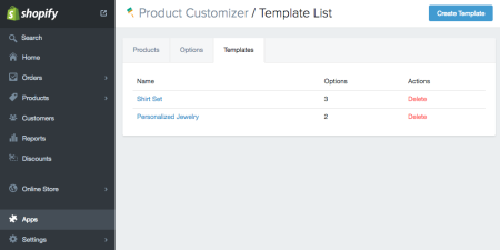 Product Customizer template list