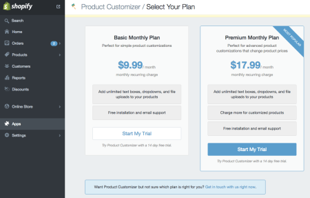 Product Customizer plans