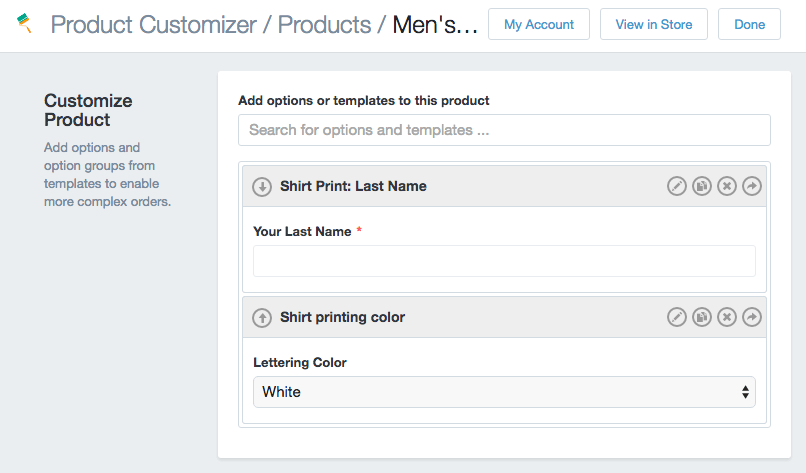 Product Customizer options on product