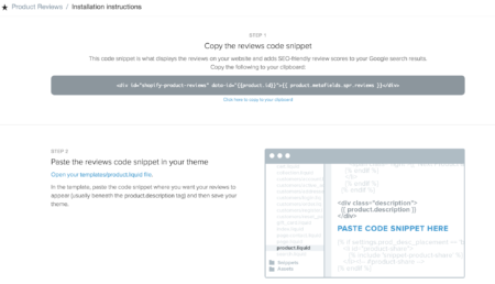code snippet product reviews app