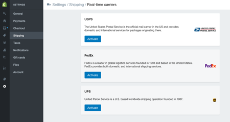 real time shipping for shopify