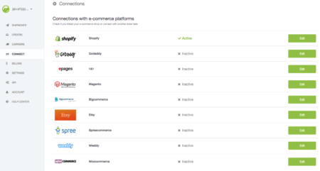 connections shippo for shopify
