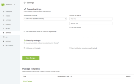 settings shippo for shopify