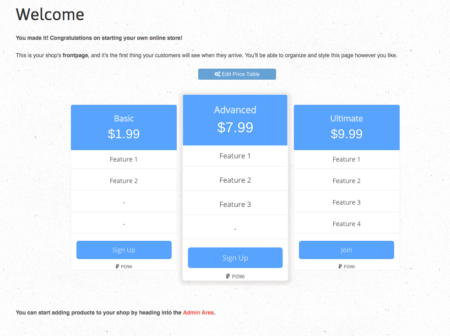 pricing tables on shopify end result